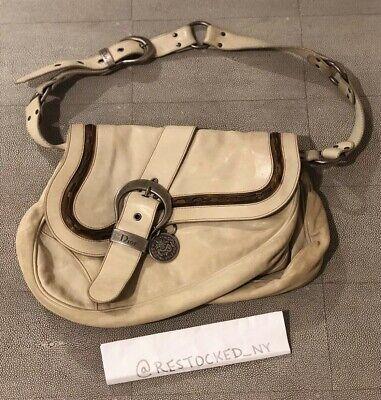 b37b9b9fc31 Christian Dior Gaucho Double Saddle Bag in Distressed Cream Leather   eBay