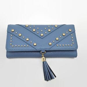 Charming-Charlie-Blue-Gold-Tone-Stud-Tassle-Ladies-Wallet