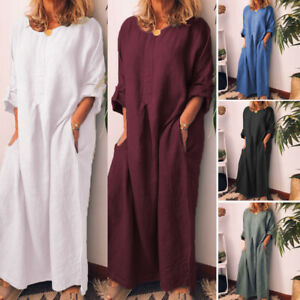 ZANZEA-Women-Oversize-Long-Maxi-Dress-Cotton-Full-Length-Shirt-Dress-Kaftan-Tops