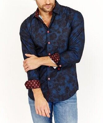 Vereinigt Mens Shirt Size 40 In. Chest Blue Cotton With And Contrast Long Sleeves