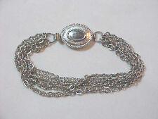 SILVER Shinny multi Chain Chains  Bracelet Fashion oval Clasp  Retro Marked Avon