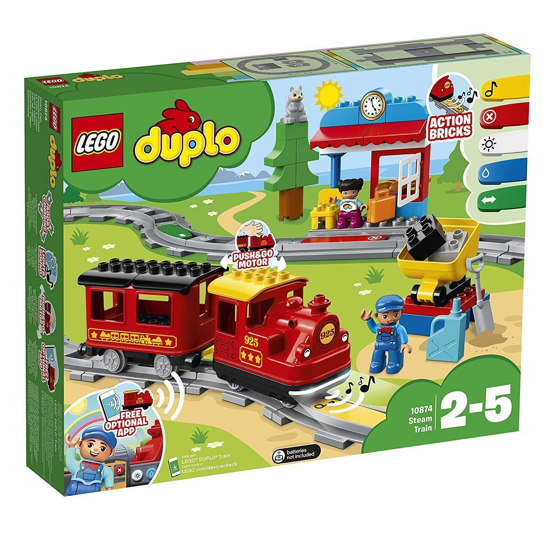 LEGO 10874 Duplo My Town Steam Train Toy, Colour-Coded Railway Set For Presch...