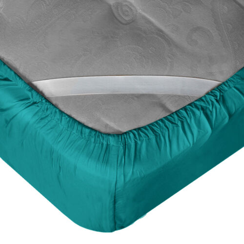 """21"""" Extra Deep Pocket Ultra Soft Fitted Sheet with Corner Straps,Queen-Teal Blue"""