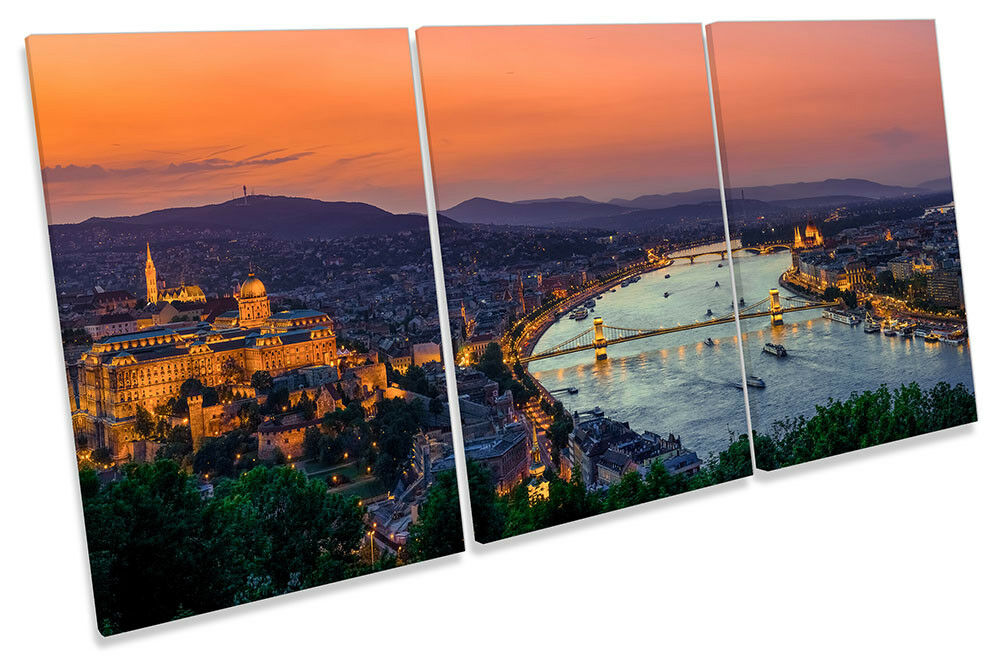 Budapest Hungary Skyline Picture CANVAS WALL ART TREBLE Print