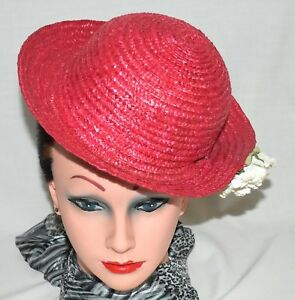 Red Woven Straw Small Womens Hat with White Rose   Curved Brim Size ... a3edefa7b4d
