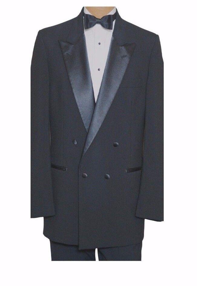 42 R Stunning Black Tuxedo Double Breasted Peak Lapel Wool Tux TUXXMAN