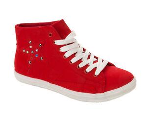 clouté chaussures dames pompes baskets bijou lacets rouge uk taille 8 3 haut Femmes salut wRqZ8E