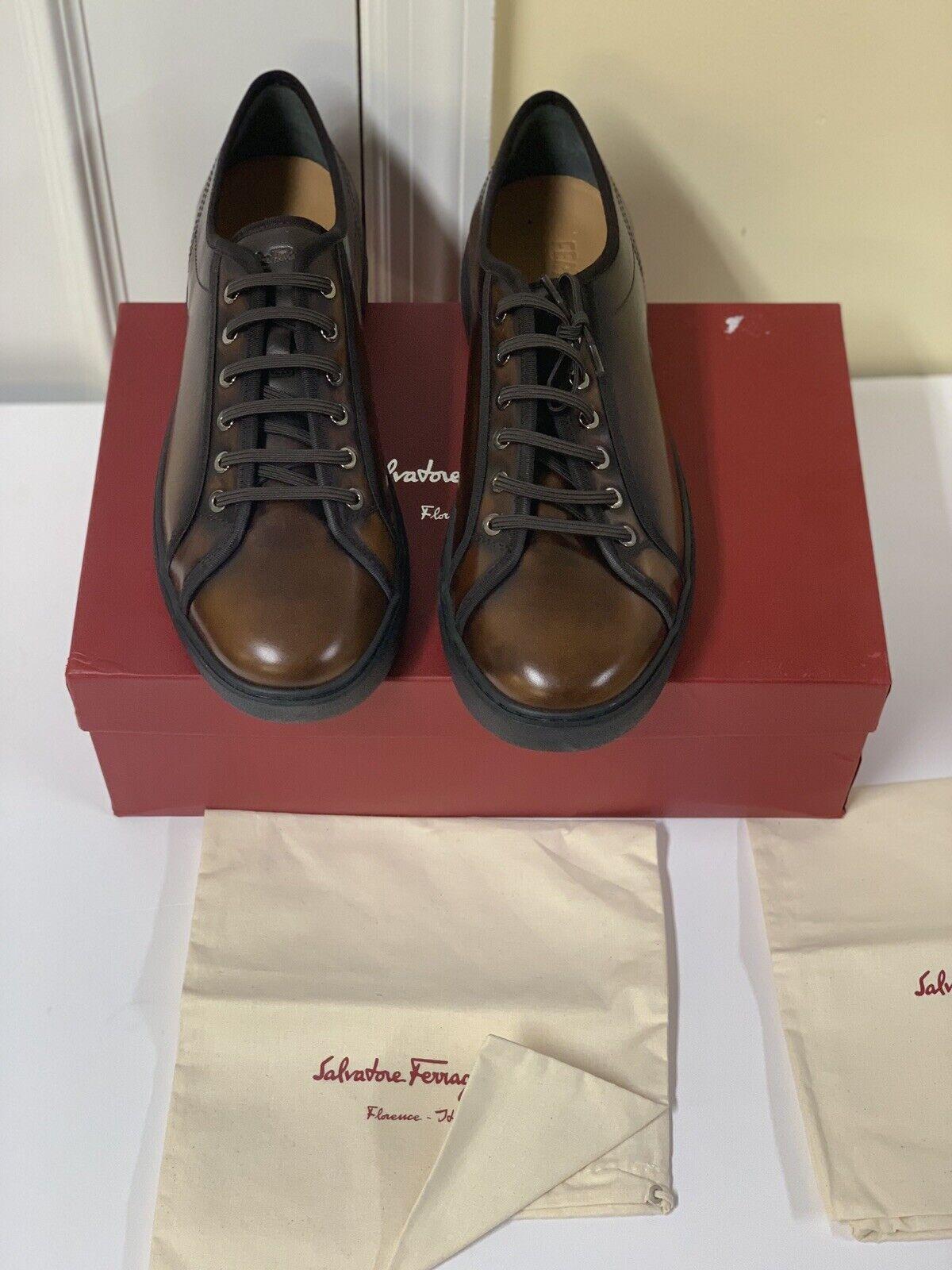 Salvatore Ferragamo zapatillas de cuero Fulton talla de hombre 9 EE nuevo fabricado en Italia