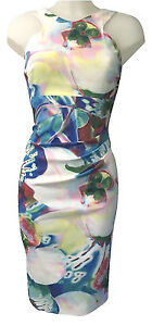 Mujer-Karen-Millen-Orquidea-Vestido-Estampado-Cenido-Saten-Ajustado-Coctel