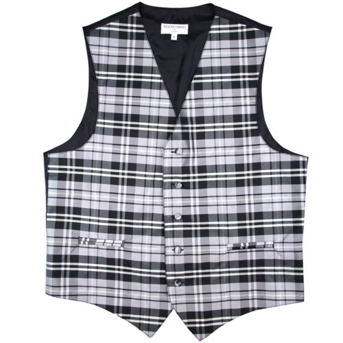 New Polyester Men Tuxedo Vest Waistcoat only plaid /& checker gray wedding