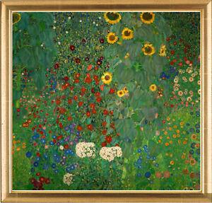 Gustav-Klimt-Bauerngarten-mit-Sonnenblumen-hochwertiger-Kunstdruck-gerahmt