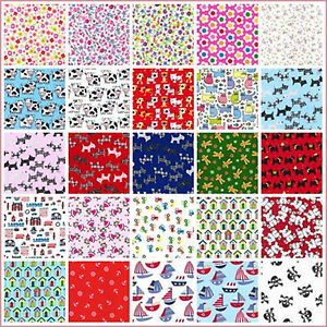 Polycotton fabric animal print dogs cats children ships for Animal print fabric for kids