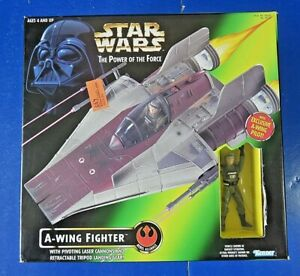 STAR-WARS-POWER-OF-THE-FORCE-A-WING-FIGHTER-1997-Kenner-NEW