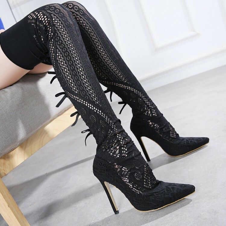 femmes Fashion Pointed Toe High Heels Above Knee bottes Back Bowknot chaussures Taille 8