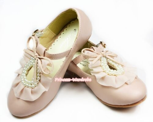 Light Pink Round Ruffle Pearls Flower Girl Kids Wedding Party Shoes E66-146