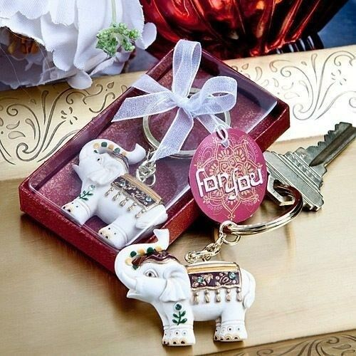 75 Majestic Indian Elephant Boxed Keychain Wedding Bridal Shower Party Favors