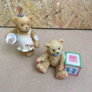 2-x-Vintage-Cherished-Teddies-Teddy-with-Porridge-amp-Letter-H