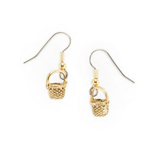 Image Is Loading Basket Charm Earrings Gold Plated Pewter Round Nantucket