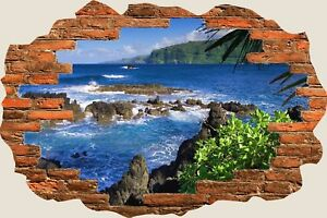 3D-Hole-in-Wall-Exotic-Beach-View-Wall-Stickers-Film-Mural-Art-Wallpaper-441