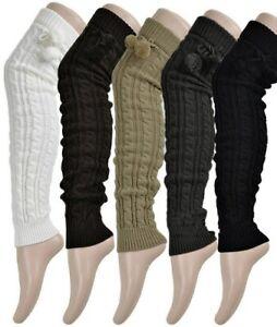 Trend Mark 5 Color Autumn Winter Women Girls Warm Knit High Knee Leg Warmers Socks Boot
