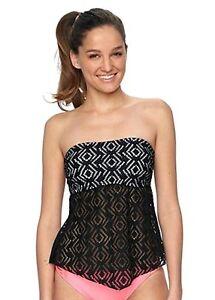 So-Size-XS-S-M-Black-White-Crochet-Strapless-Bandeau-Tankini-Halter-Swim-Top