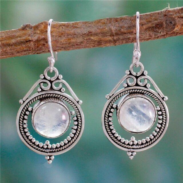 Women's Silver 925 Retro Gifts Moonstone Handmade Earring Jewelry Earrings Ear