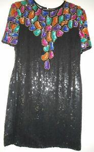 SWEELO Black Shift Silk Dress Large Embroidered Beads Red Puple Red Gold 1980s Vintage HapaChico