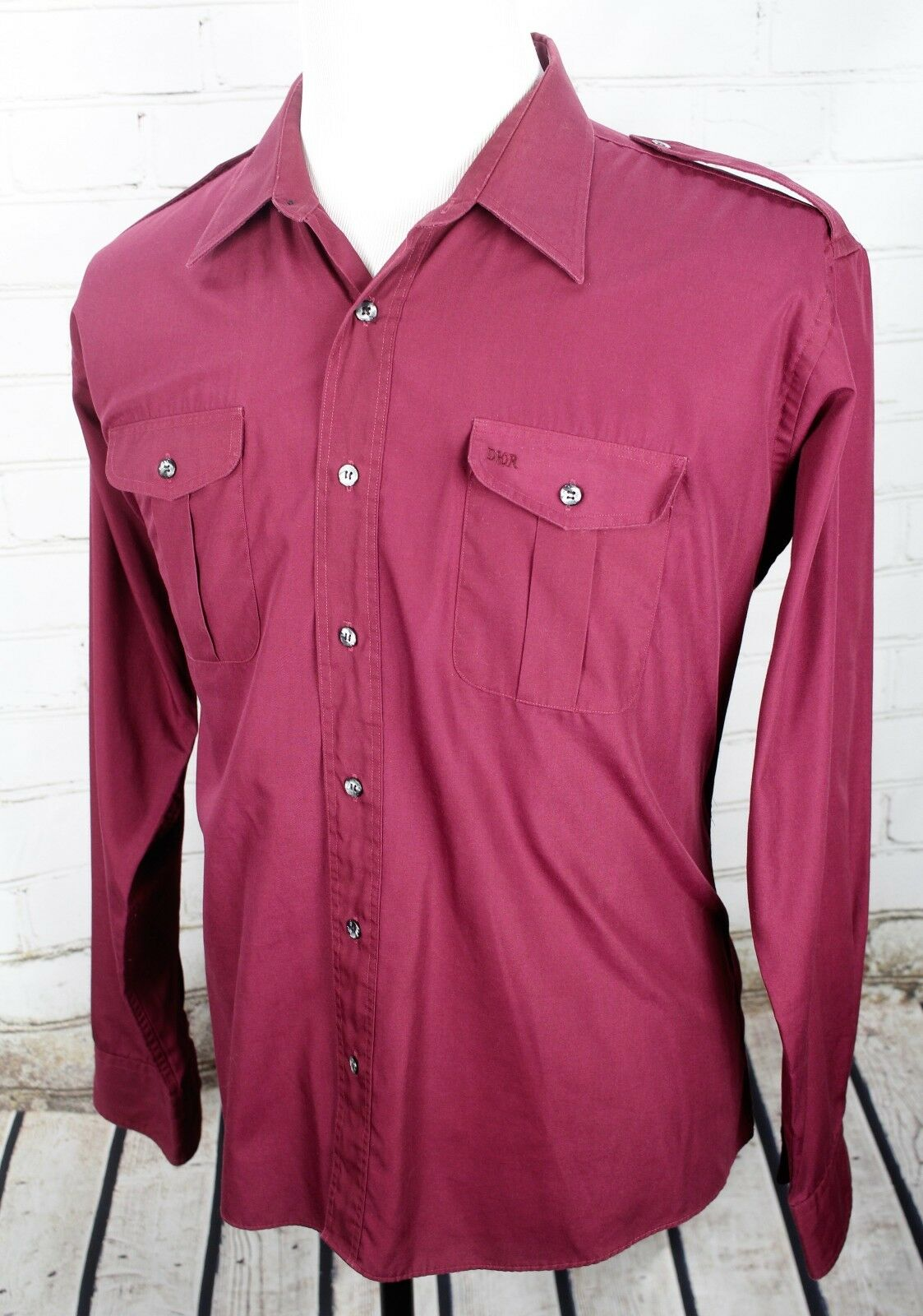 CHRISTIAN DIORButton Down Shirt Uomo's XL Long Burgundy rosso Top  Long XL Sleeve e1fa9f