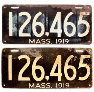 Audacious Massachusetts 1919 License Plate Pair 67165 Original Antique Garage Sign New Varieties Are Introduced One After Another