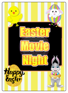 Easter Box Movie Night Large Rectangle Stickers Letterbox Party Bag Sweet Box