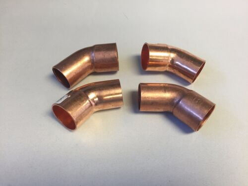 LOT OF 4 1 x 1 inch copper 45 Degree FTG x Cup Elbow  1inch LOT OF 4