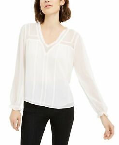 1.State Womens Blouse Classic White Size Medium M Sheer V-Neck Lace Trim $99 416