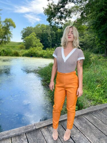 1950's Vintage Rare Orange Denim Cigarette Pant |
