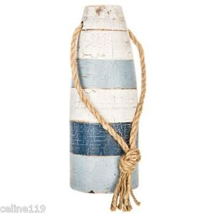 Blue-and-White-Buoys-Rustic-Vintage-Style-Set-of-2-Wooden-Nautical-Decor-L-S