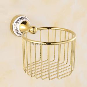 Gold Brass Bathroom Wall Mounted Toilet Paper Roll Holder Storage Basket Rack