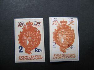 Lichtenstein 1921 , MiNr: 43 * - 44 *, mit Falzrest - Marktredwitz, Deutschland - Lichtenstein 1921 , MiNr: 43 * - 44 *, mit Falzrest - Marktredwitz, Deutschland