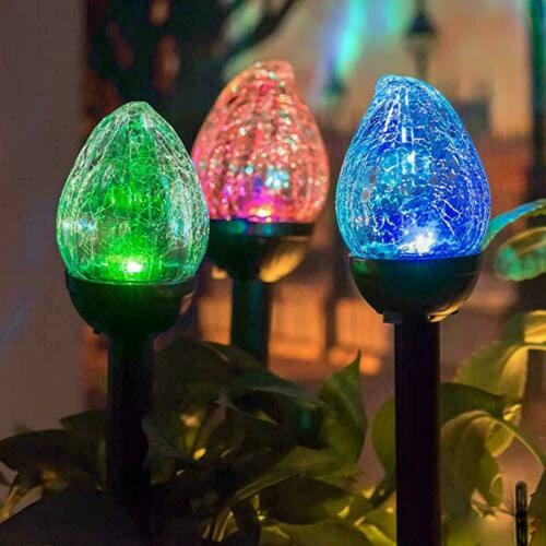 8x Multi Coloured Solar Powered Crackle Flame LED Stake Light Outdoor Patio Lamp