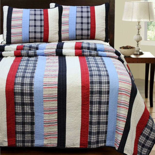 BEAUTIFUL CLASSIC REVERSIBLE Blau rot Weiß PLAID CABIN STRIPE COTTON  QUILT SET