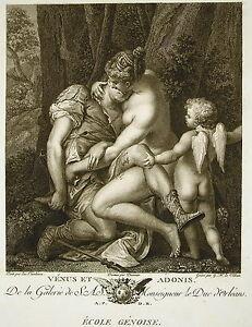 Luca Cambiaso Vénus & Adonis Gravure G R Le Villain Ed J Couché 1786 Mythology ArôMe Parfumé