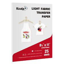 Koala 25 Sheets 85x11 Iron On Heat Transfer Paper Light Fabric Cotton T Shirts