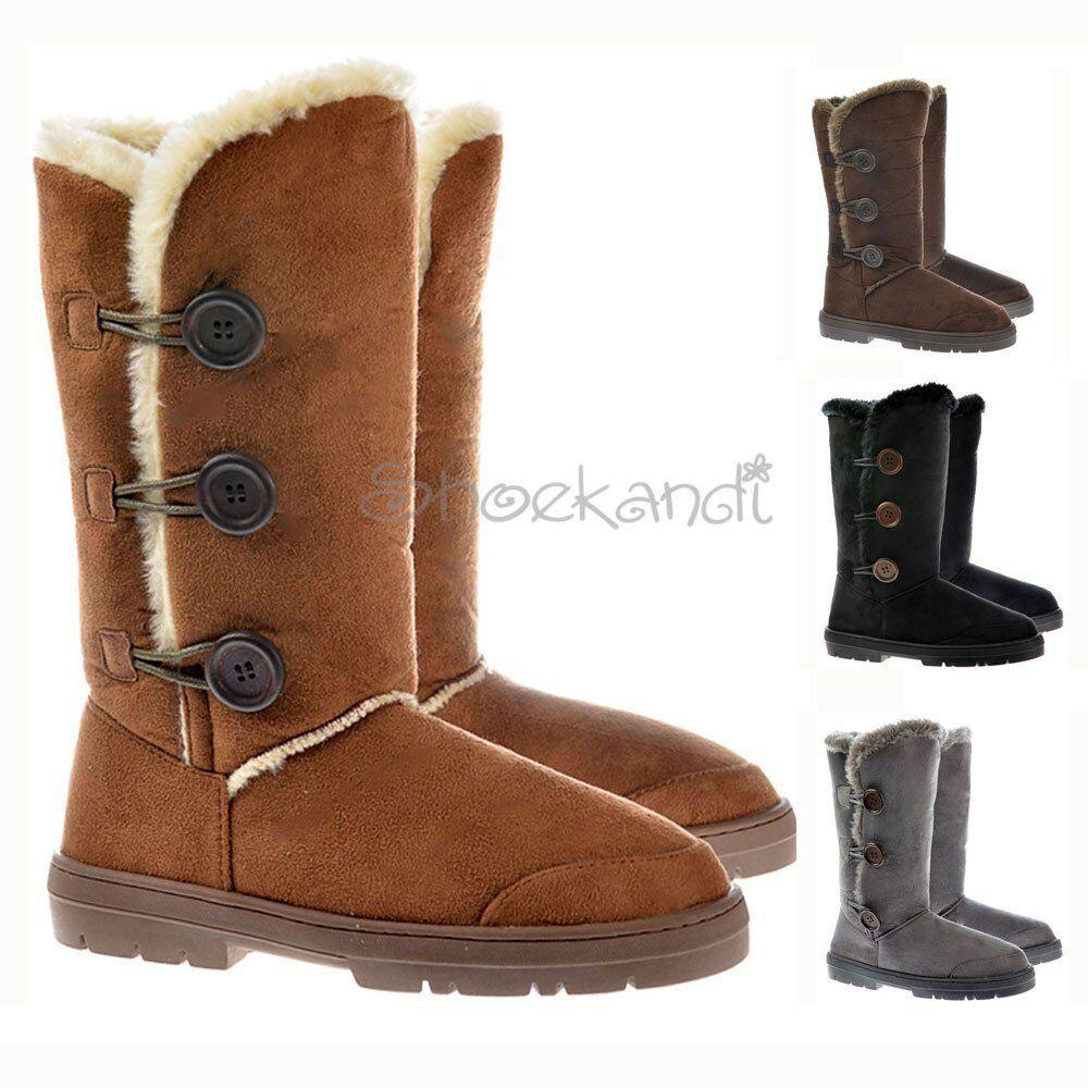 Womens Girls Ella Triple 3 Button Fur Lined Flat Winter Snug Slouch Boots 3-8