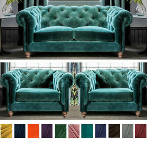 Details about Classic Chesterfield Sofa, Teal Plush Velvet, 2+1+1 Seater  Settee Fabric Couch