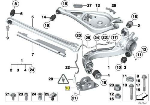 BMW E36 E46 E83 E85 E86 E89 POSTERIORE braccio longitudinale Staffa L 33303411877