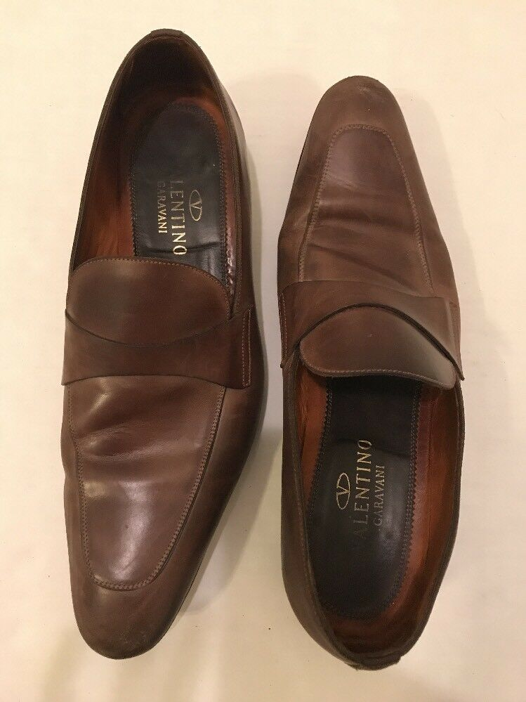 Valentino Garavani Men's Brown Leather Slip on Loafers Dress shoes  2