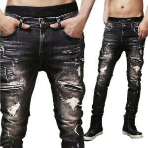 Boy-Men-039-s-Distressed-Ripped-Jeans-Moto-Vintage-Denim-Pants-Slim-Skinny-Trousers