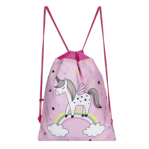 Unicorn Kids PE Swim Drawstring Bag Girls Flying Horse School Gym Backpack O6