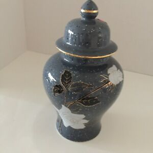 Vintage Porcelain Urn/Ginger Jar Blue BlacK & Gold W/White Rose Speckled Japan