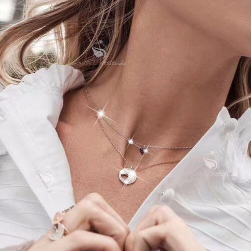 18k white rose gold plated clear red crystal double hearts necklaces set