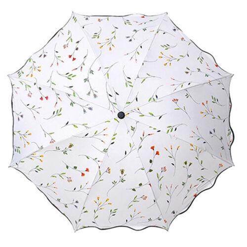 Women 3 Folding Flower Umbrella Anti-UV Sun Rain Protection Parasol Windproof UK