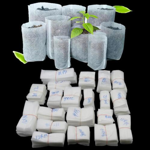 100 Pcs Biodegradable Non-woven Nursery Bags Plant Seedling Pots Garden Aeration